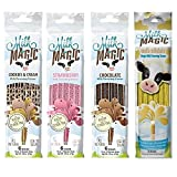 4 Packs Official Milk Magic Flavored Straws - Chocolate, Vanilla, Cookies & Cream and Strawberry - (24 Straws total)