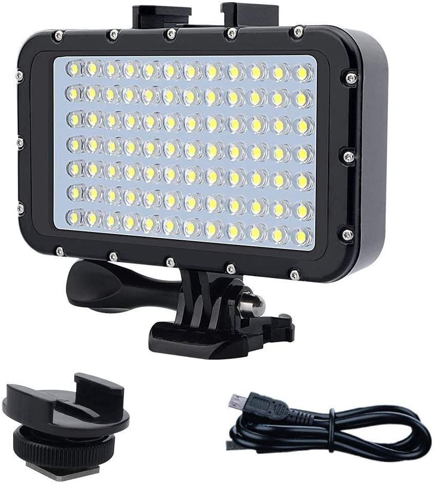 50m Aoile 84 LED High Power Dimmable Waterproof LED Video Light Waterproof 164ft Underwater Lights Dive Light for Gopro Canon Nikon Pentax Panasonic Sony Samsung SLR Cameras