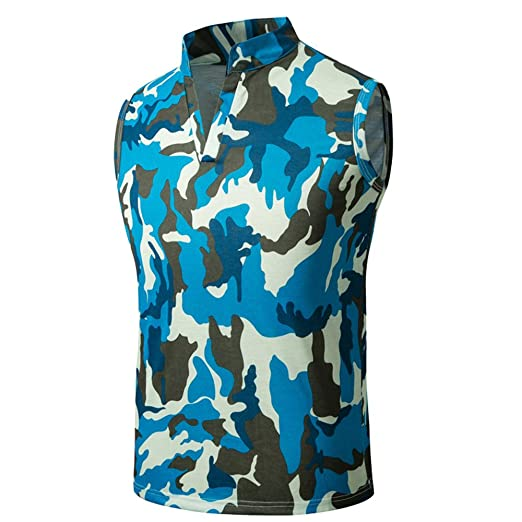 c41001ba Fanteecy Men Camouflage Printed Summer V Neck Tank Tops Casual Slim Fit  Sleeveless T Shirts Stand