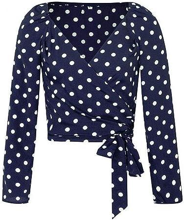 Dumai Camisa Camisa de Blusa de Mujer de Lunares de Abrigo Sexy Blusas Vintage Ocasionales Blusa de Manga de Soplo con Cuello en V Femenino (Color : Navy Blue, Size : L):