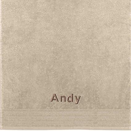 Erwin Müller Toalla con nombres Andy bordado, arena, 50 x 100 cm