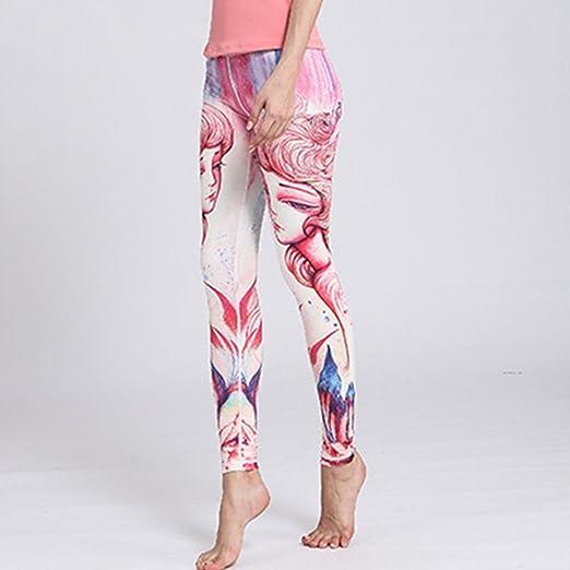 Zgsjbmh Pantalones de Yoga Estampados elásticos de Las ...