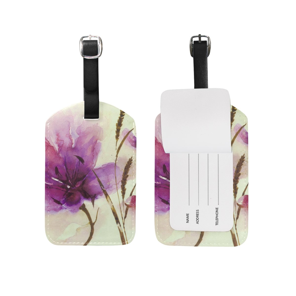 Purple Flower Travel Genuine Leather Luggage Baggage Tags ID Labels Holders(2 Pcs Set)
