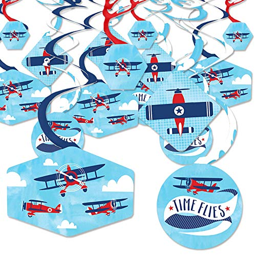 Taking Flight - Airplane - Vintage Plane Baby Shower or Birthday Party Hanging Decor - Party Decoration Swirls - Set of 40 -