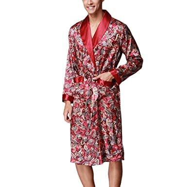 Amazon.com: Men\'s Floral Silk Lightweight Dressing Gown Loungewear ...