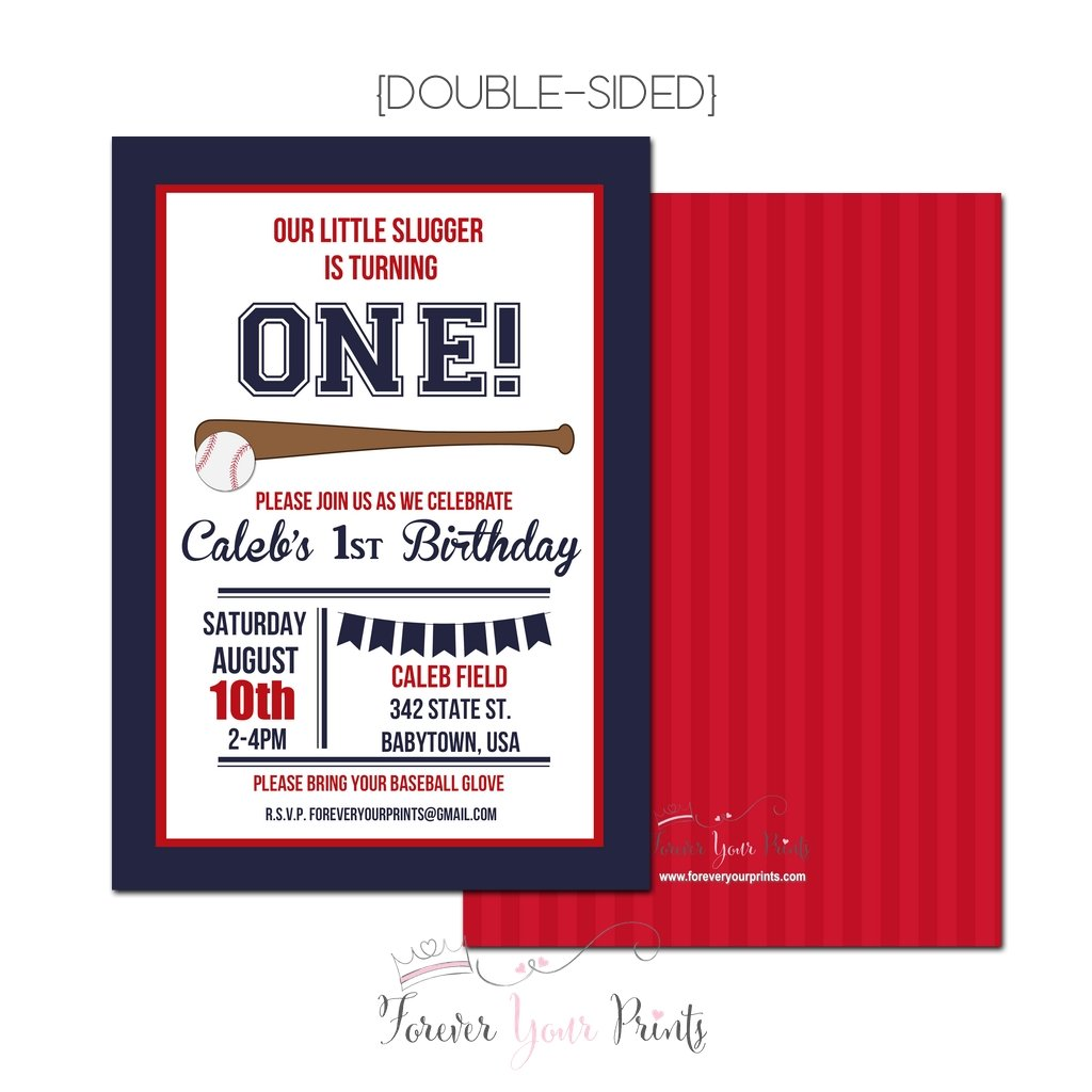 Amazon.com: Boys Baseball Birthday Invitation, Baseball Party Navy ...
