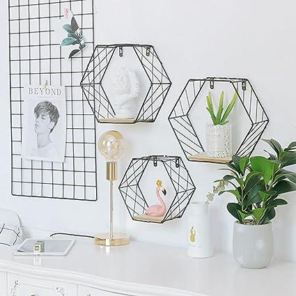 étagère Murale Moderne Géométrique De Forme Hexagonale Avec Grille
