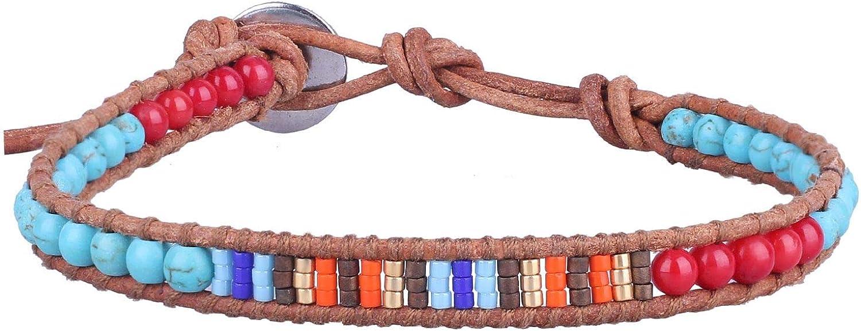 KELITCH Hippy Boho Arco Iris Mezcla Finas Abalorios, Turquesa Y Rojo Coral Abalorios Cuero Pulsera