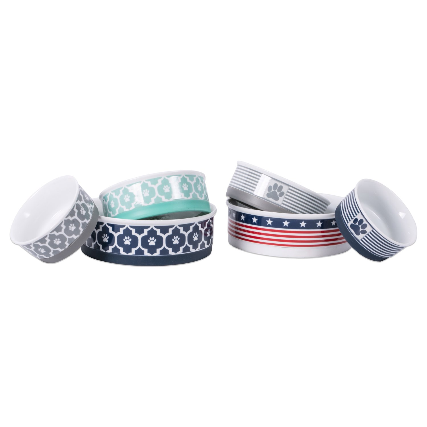 Bone Dry DII Patriotic Ceramic Pet Bowl for Food & Water with Non-Skid Silicone Rim for Dogs and Cats (Large - 7.5'' Dia x 4'' H) Stars and Stripes by Bone Dry (Image #7)