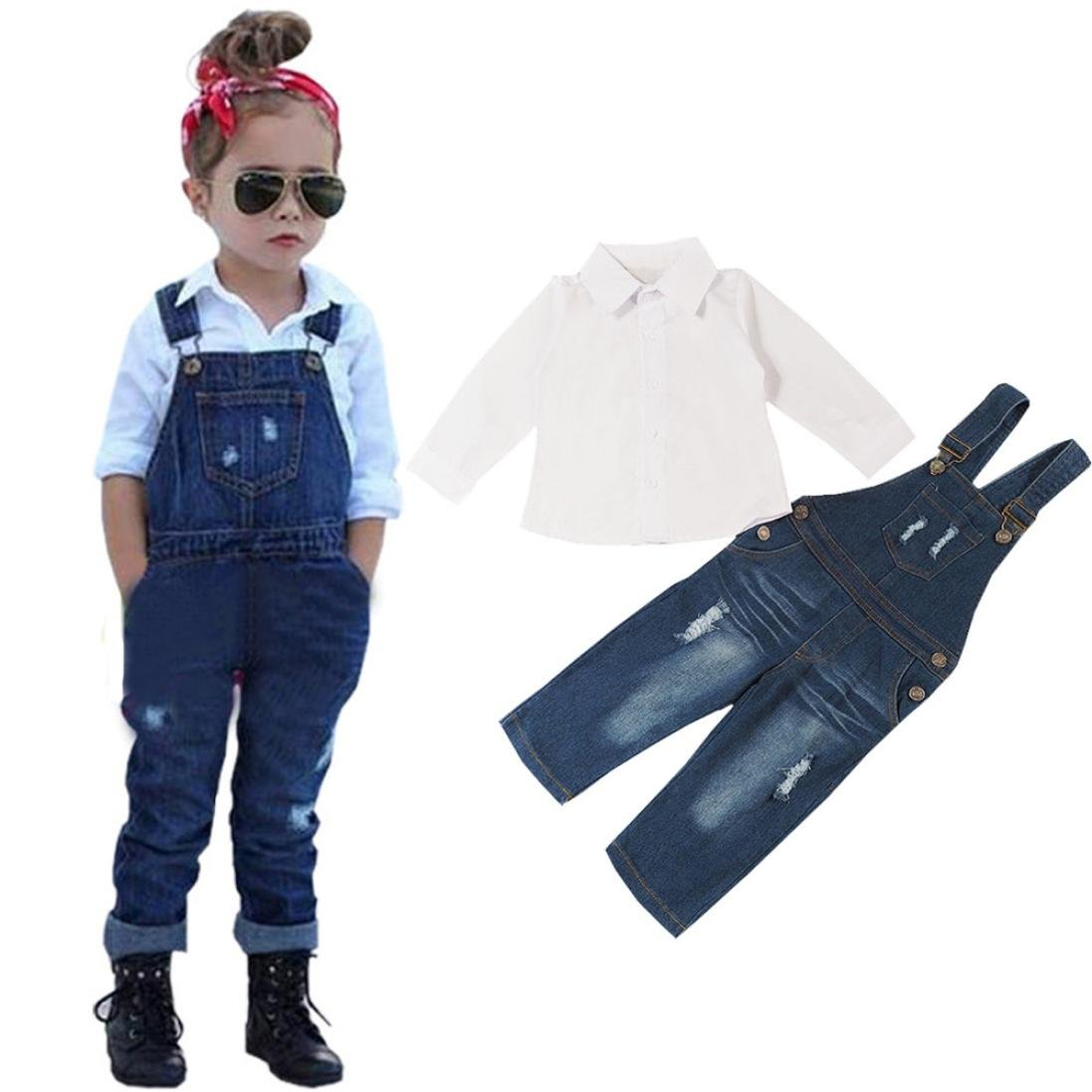 70654d81e97 Baby Clothes Girl Tops 2-8 Years Kids Baby Girls Outfits T-Shirt Tops  Blouse+ Denim Dress Pants Clothes Set Navy  Amazon.co.uk  Clothing