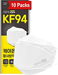 [Pack of 10] [CARE ON] 4-Layers ::KF94 Certified:: Face Safety Mask with Ear Loop for Adult [Individually Packaged] Comfortable & Better Protection from Fine Dust [Made in KOREA]