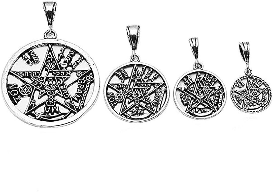 Blue Apple Co. Pentagram Pendant Tetragrammaton Charm Solid Oxidize Design 925 Sterling Silver Religious Pagan Star Shape