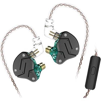 Yinyoo KZ ZSN Auriculares duales con Auricular Auriculares KZ 1BA + 1DD Auriculares Deportivos de Alta fidelidad con Auricular Desmontable de 2 Pines (Cian con micrófono)