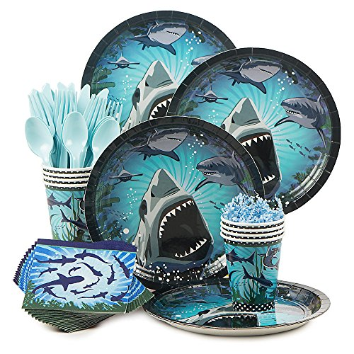Shark Week Supplies Standard Party Kit Serves 8 (Shark Plates)