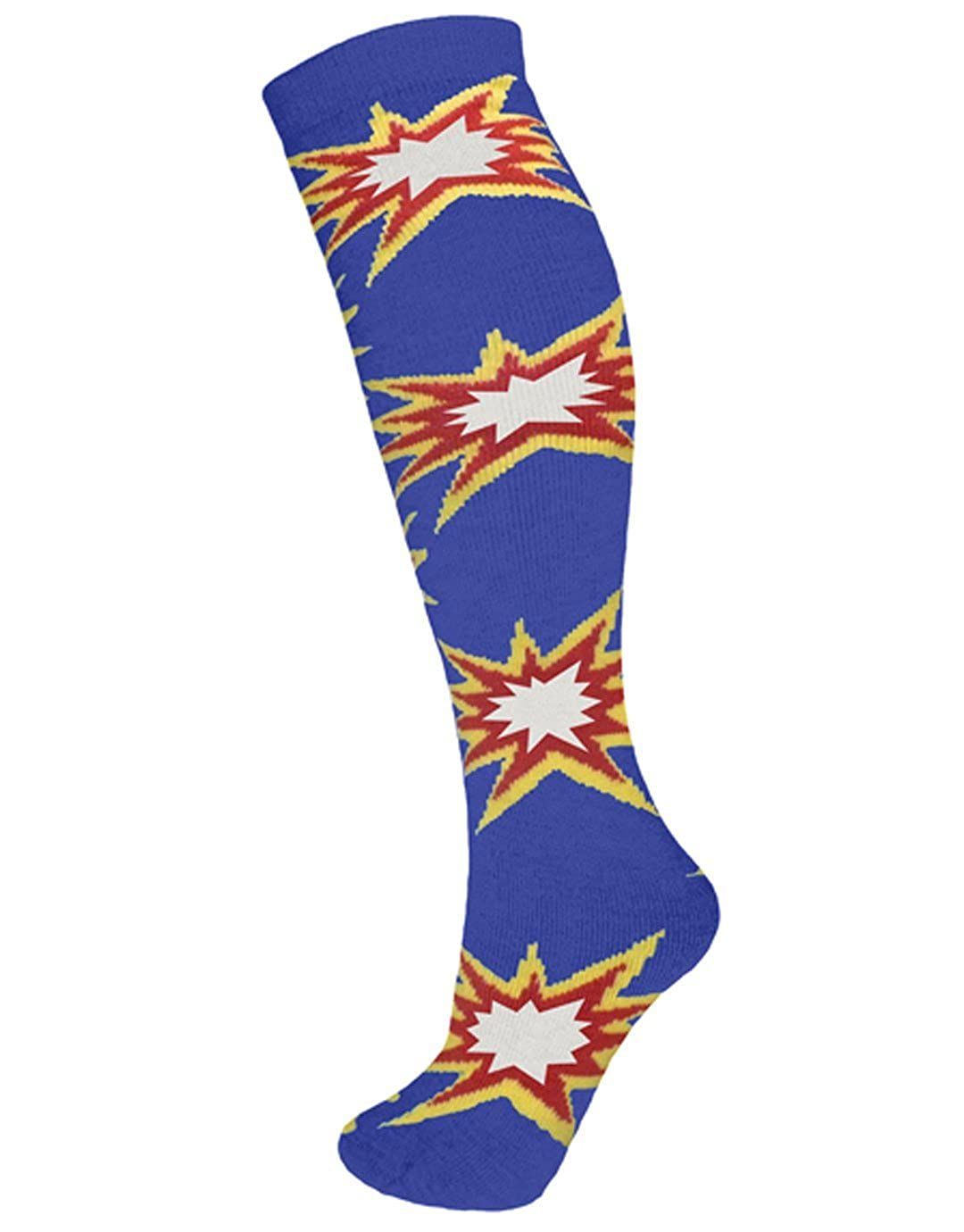 Manbi 18in Kids Patterned Tube Sock KAPOW BLUE 12.5-3.5