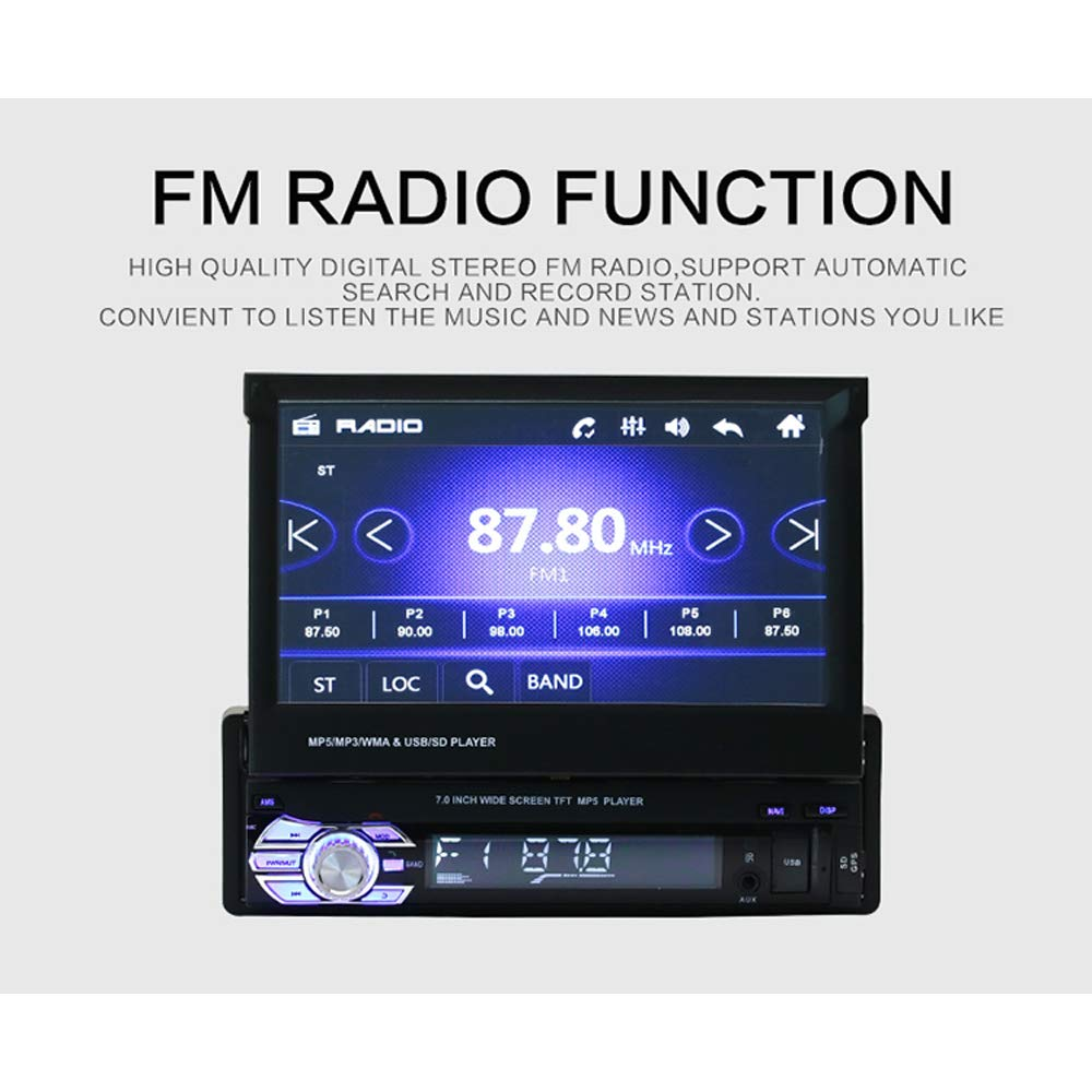 Reproductor Multimedia para Radio de Coche de 7' MP5 con Soporte para GPS Bluetooth, AUX, USB, Tarjeta SD, reproducció n, FM, Manos Libres, Mando a Distancia, Radio de visió n Trasera reproducción Radio de visión Trasera Ltd.