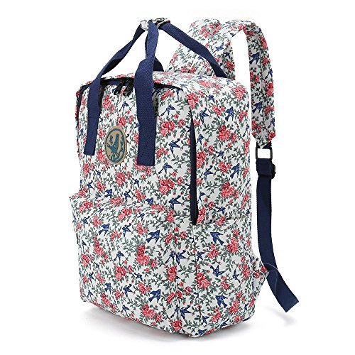 Tote Bag Shopping Bag Shoulder HandBag For Women,Coin Purse Cosmetic Bags MakeUp Bag,School Backpack Travel Bag College Bags For Teen Girls Student Women (J-Bacpack-Floral-Blue+pink)
