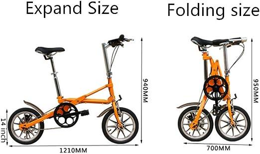 Bicicleta Plegable Ligera 14 Pulgadas, Bicicleta Plegable Compacta ...