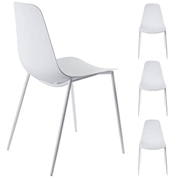 Alessia Set Of 4 White Dining Chairs   Mid Century Modern Style Armless Side  Chairs Molded