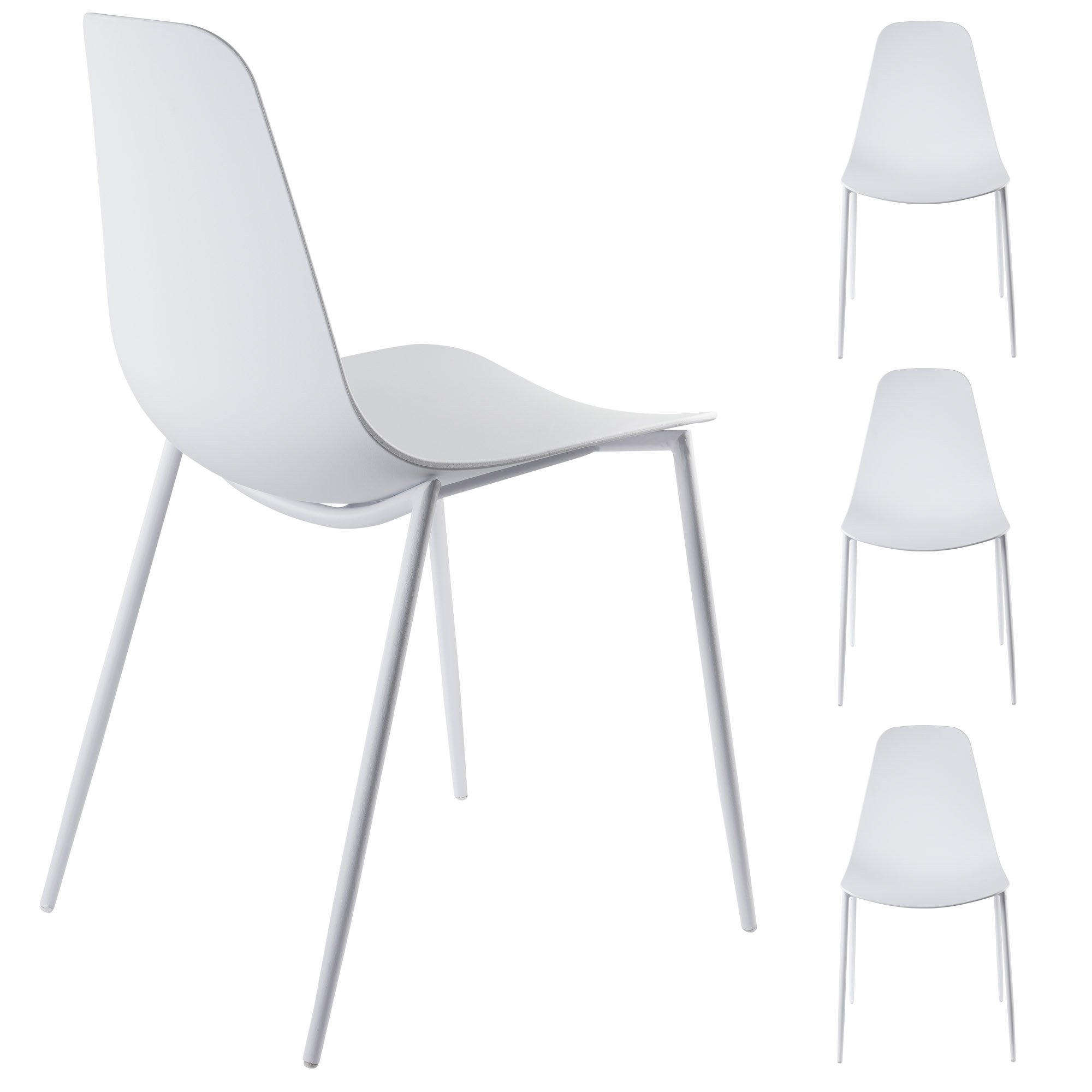 Alessia Set of 4 White Dining Chairs - Mid Century Modern Style ...