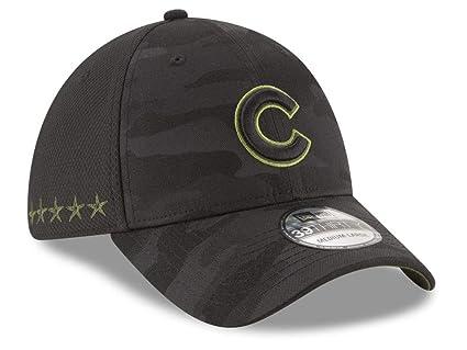 premium selection b14f8 37683 New Era Authentic Chicago Cubs Black 2018 Memorial Day 39THIRTY Flex Hat  (Medium Large