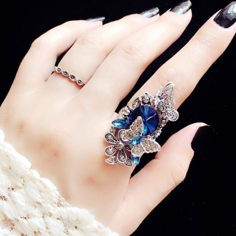 Sinwo Women Fashion Ring Exquisite Sapphire Amethyst Inlay Butterfly Wedding Ring Band Ring Gift Two – Piece