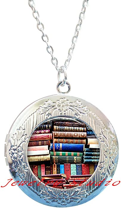 Book Jewelry Book Locket Pendant Book Locket Necklace-HZ0025 Librarian Gift Library Charming fashion Locket Necklace,Stack of Books Locket Pendant Book Club Gift