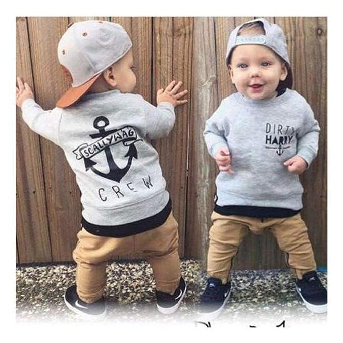 763b209ae5ec Amazon.com  FidgetGear 2pcs Toddler Kids Baby Boy Girls Long T-shirt ...
