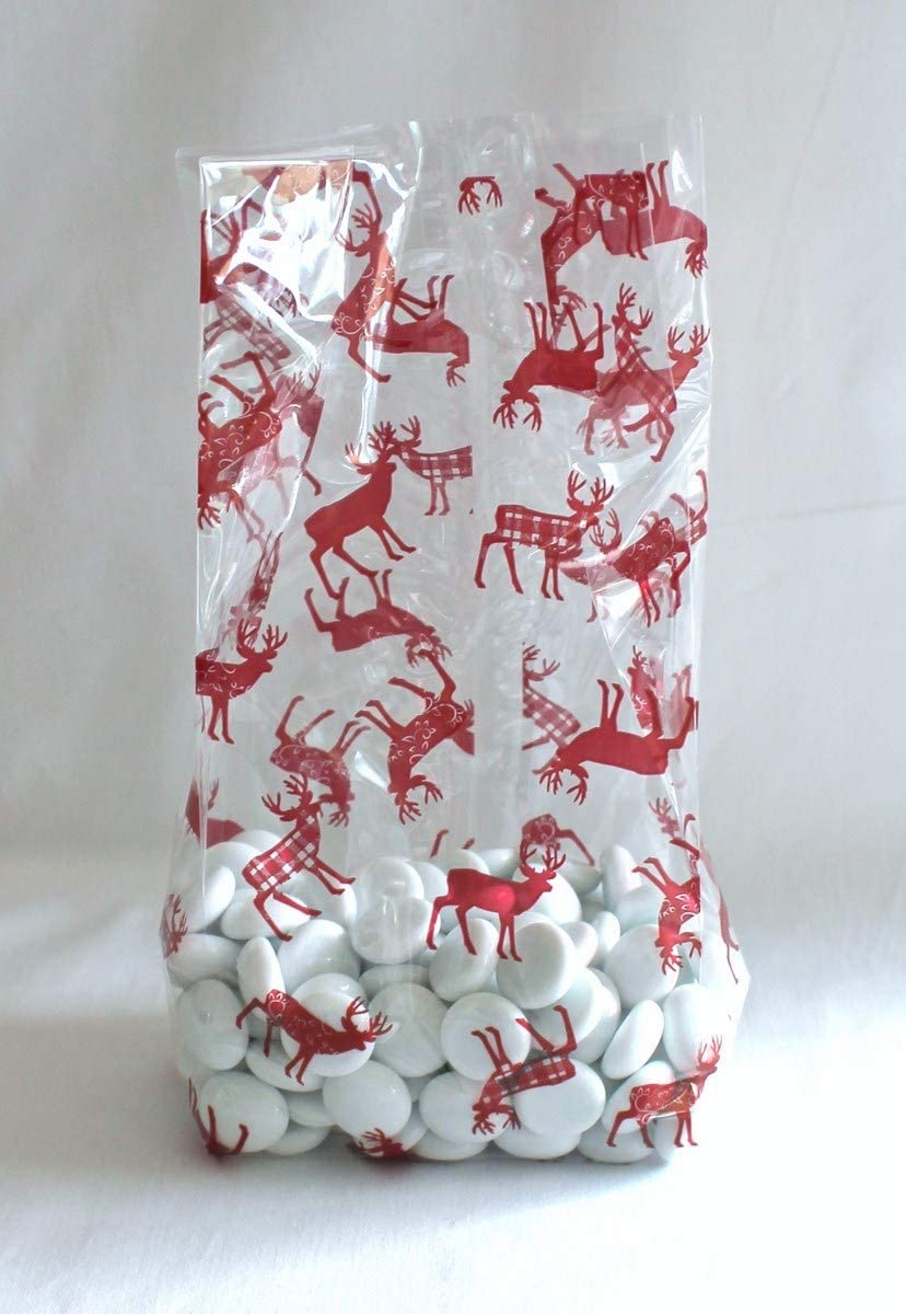 Christmas Holiday Red Nordic Deer Reindeer Cello Cellophane Party Favor Treat Bags - Pack of 25 (Small)