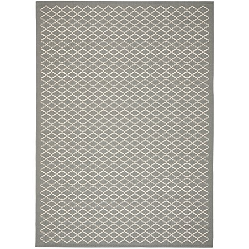 Safavieh Courtyard Collection CY6919-246 Anthracite and Beige Indoor/Outdoor Area Rug (8' x 11')