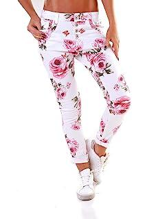 0572eb0a2fb4 Made Italy Damen Boyfriend Hose Jeans Blumen-Alloverdruck: Amazon.de ...