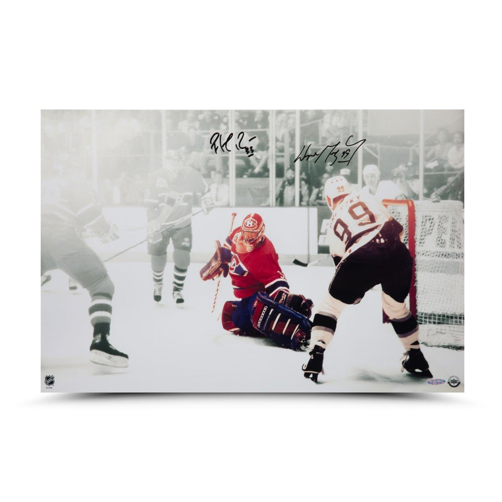 Wayne Gretzky//Patrick Roy Dual Signed 1993 Stanley Cup Game 4 24X16
