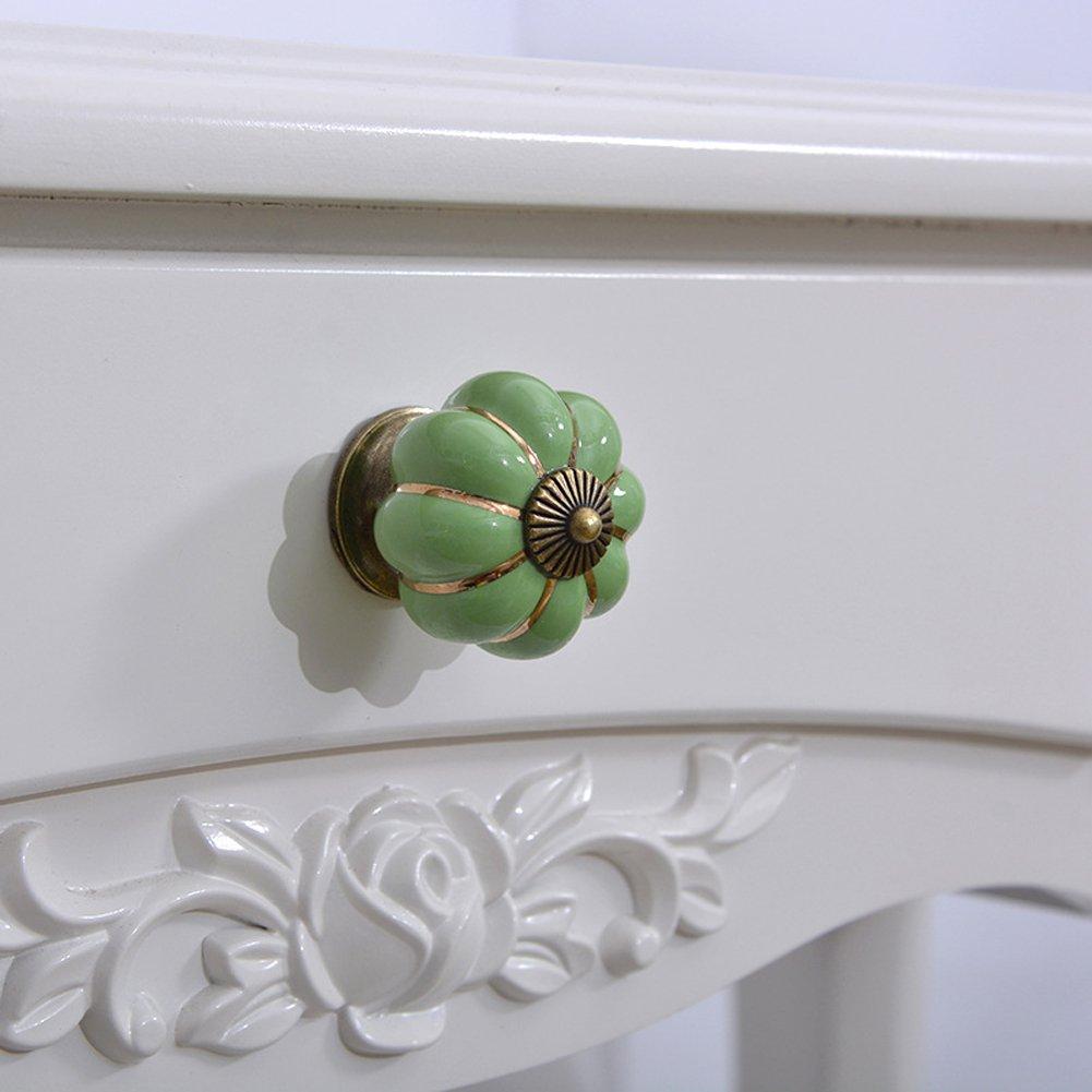 10pcs vintage en c/éramique de style europ/éen et en forme de citrouille Meubles boutons de Doorknob en c/éramique Poign/ée pour commode armoires de cuisine armoires /à tiroirs