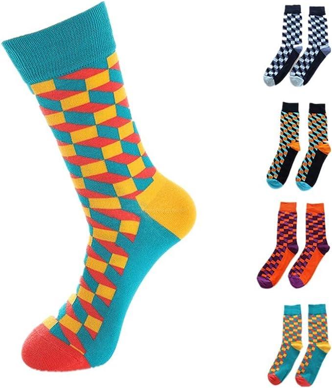 QinMMROPA 4 pares calcetines largos de algodón para hombre adulto ...