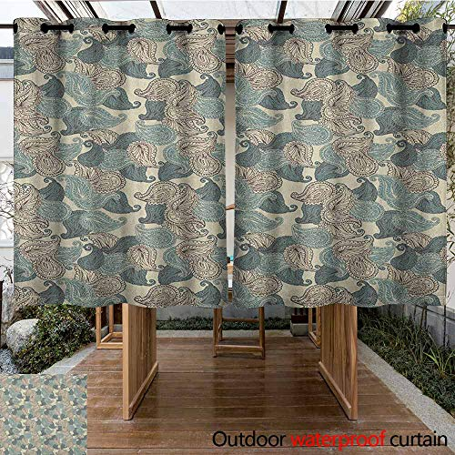 AndyTours Outdoor Window Curtains,Paisley,Motifs from Persian Culture Teardrop Shape Swirled Tip Oriental Middle East Pattern,for Patio/Front Porch,K160C115 Multicolor (Dye Tie Teardrop)