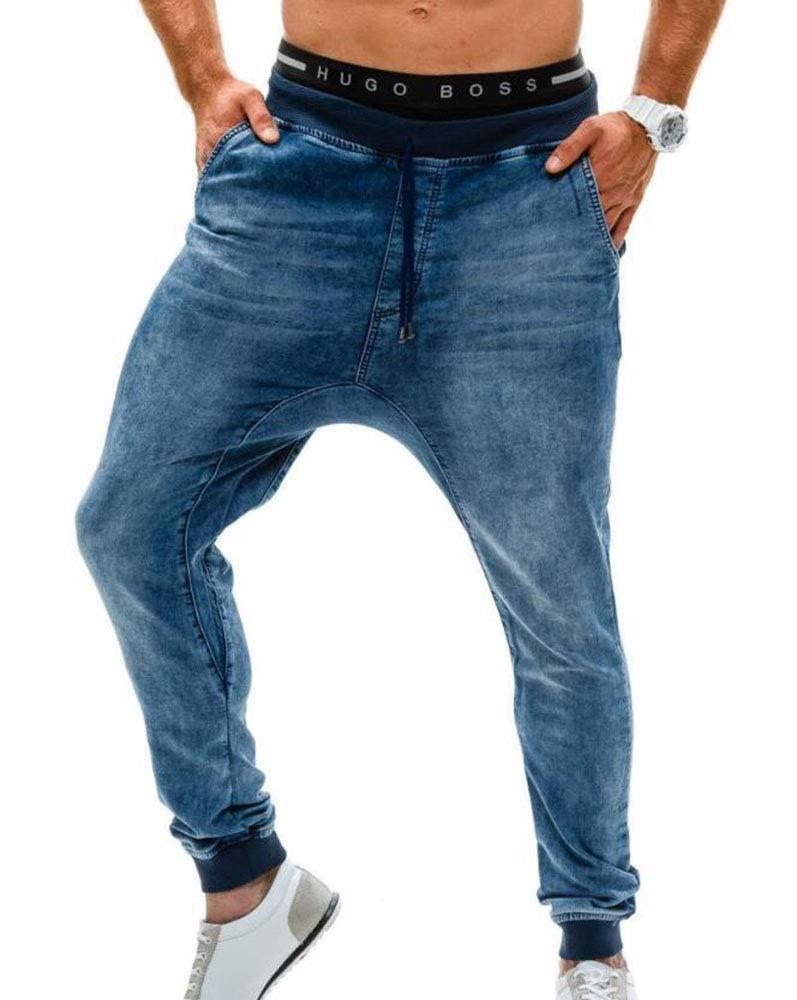 Huateng Pantalones de Pierna Delgada elásticos de Mezclilla Azul y ...