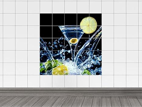 Piastrelle adesivo piastrelle immagine cocktail vetro con limoni e