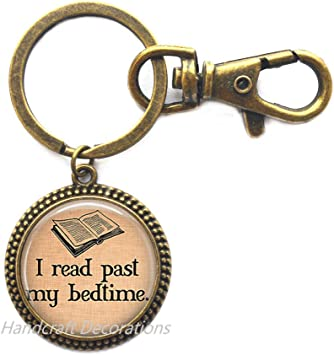 Key Ring Old Books I READ PAST MY BED TIME Key Chain Book Lover Book Club Gift