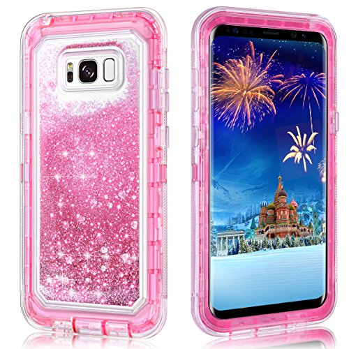 Galaxy S8 Plus Case,Wollony 360 Full Body Shockproof Liquid Glitter Quicksand Bling Case Heavy Duty Phone Bumper Soft Non-Slip Clear Rubber Protective Cover for Samsung Galaxy S8 Plus - Pink