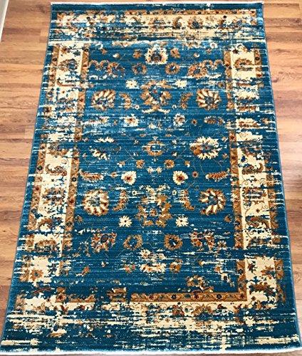 Antep Rugs ORIENTAL Collection ANTIK Floral Vintage Polypropylene Area Rug (BLUE/IVORY, 5′ X 8′)