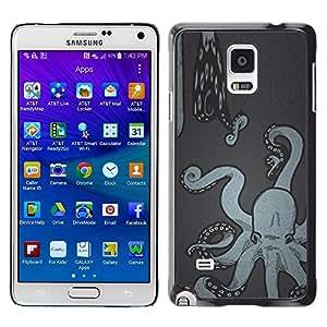 LECELL--Funda protectora / Cubierta / Piel For Samsung Galaxy Note 4 SM-N910 -- Art Painting Snake Sea Kraken --