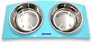 HENREK Stainless Steel Double Feeder Bowl, for Pet Dog Cat Food Water Feeding