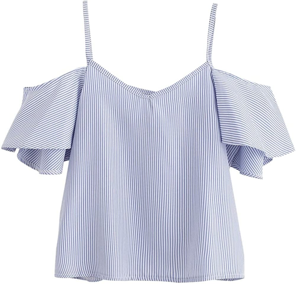 Keepfit Pinstripe Cold Shoulder Clothing Tops for Women Spaghetti Strap Blouse