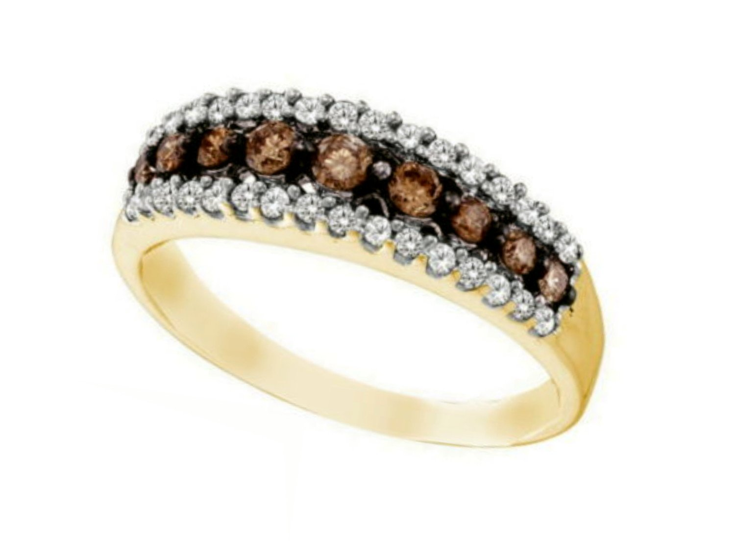 10K Yellow Gold Brandy Diamond Chocolate Brown Stunning Eternity Ring 1/2 Ctw.