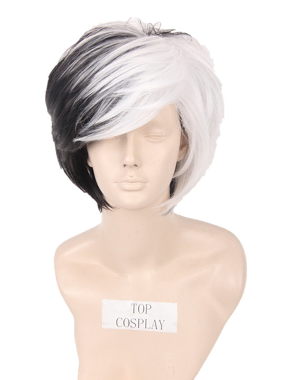Deluxe Cruella Deville Women's Short Length Cosplay Voluminous Bob Wig Black & White Heat Resistant Fiber by Topcosplay