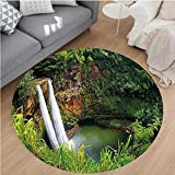 Nalahome Modern Flannel Microfiber Non-Slip Machine Washable Round Area Rug-ajestic Twin Wailua Waterfalls Kauai Hawai Greenery Forest Grass Nature Scenic View Green area rugs Home Decor-Round 67''