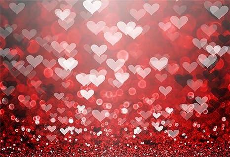 YongFoto 3x2m Vinyle Toile de Fond La Saint Valentin Plancher de Briques Vintage Red Hearts Blurry Fond D/écors Studio Photo Portrait Enfant Video Fete Mariage Photobooth Photographie Accesorios