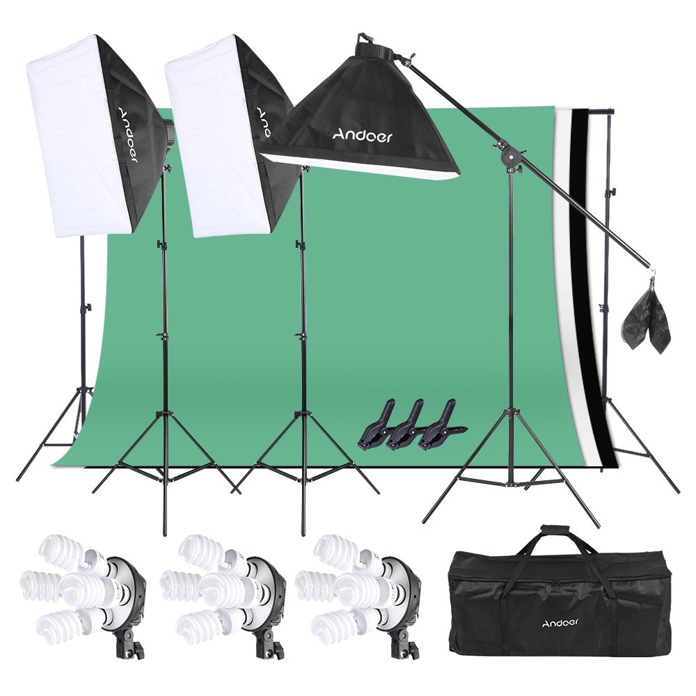 Andoer Photo Video Studio Light Kit Softbox Stand Kit with 3 color 6.6 x 9.8ft Backdrop(Black/ White/ Green) for Studio Photography and Video Lighting by Andoer