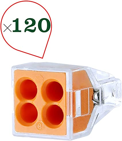 Wago 773-164 Pushwire Connector Wall-Nuts 4-Pole Box of 100