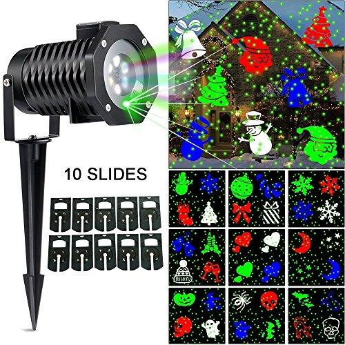 Christmas Laser Light, [Newest Version] Snowflake Led Spotlight Landscape Projector, Multi 10 Slides Sparkling Laser Light Show Indoor Outdoor Rotating Projection Lights - Green - Christmas Laser Light Tree